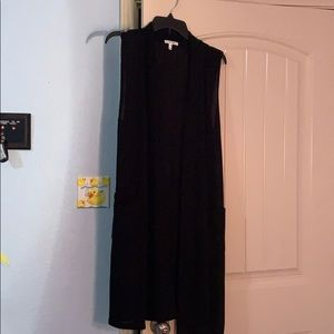 Maurice's Long Black Tank Top Cardigan Pockets S/M